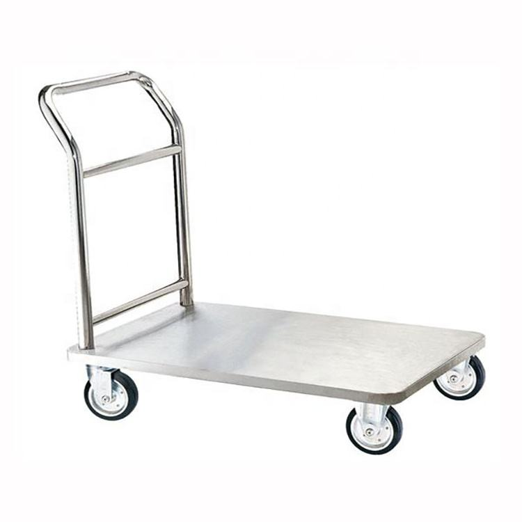 Stainless steel kitchen food cart meat hanging trolley food transport flat trolley