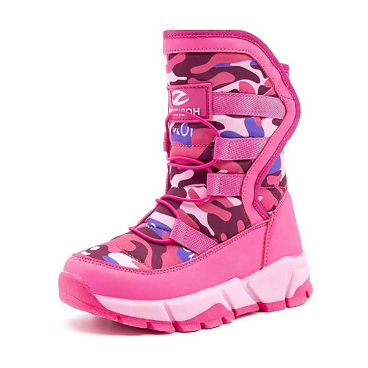 Commercio all'ingrosso Alla Moda di Colore Rosa Per Bambini Suola In Gomma Inverno Scarponi da sci Per Le Ragazze