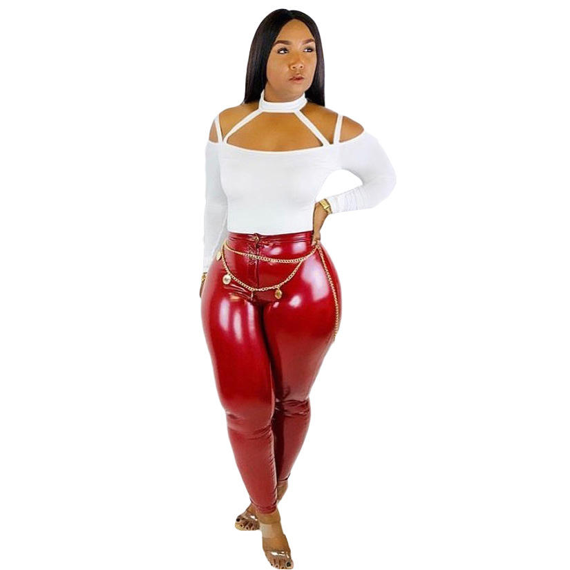 Women solid color slim Leather Pants skinny High Waist ruffled trousers with zipper