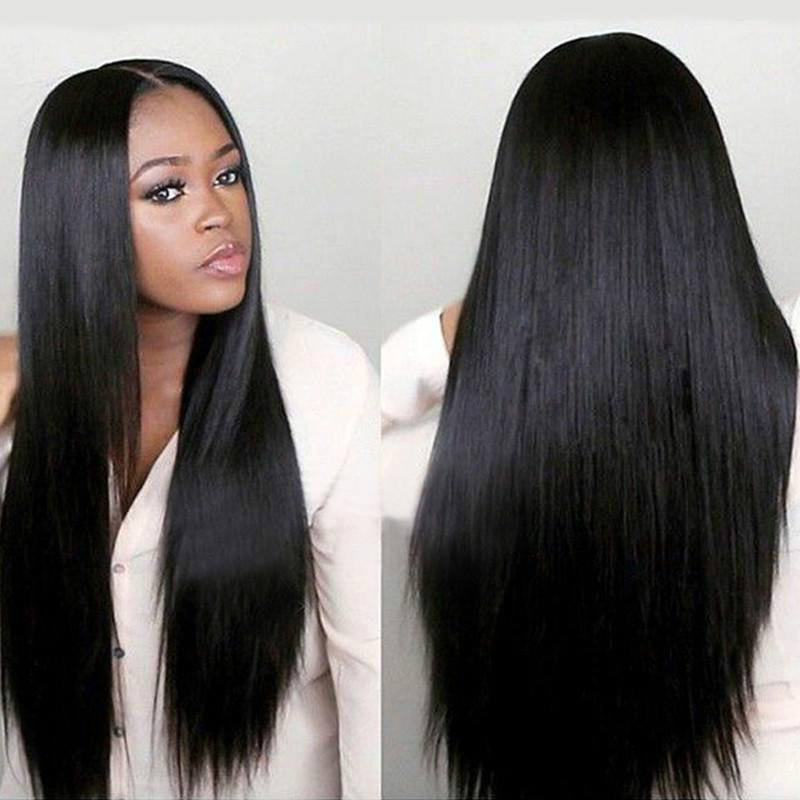 Natural black split bangs long straight hair wig hot sale synthetic lace front wig 5x5 lace closure wig