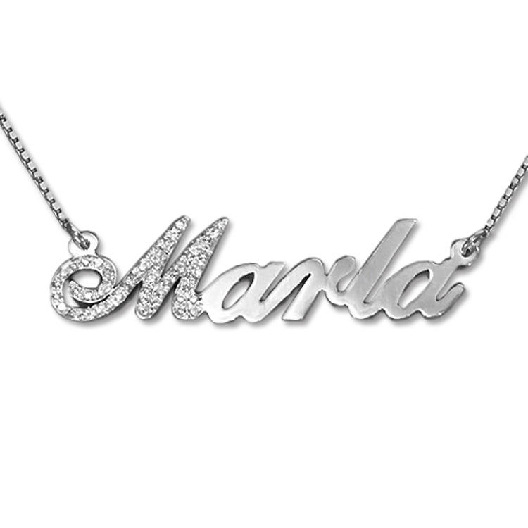 ATHENAA Women Jewelry joyas de plata 925 Sterling Silver Personalized Custom Name Plate Bar Necklace Gold Plated Pendant Gift