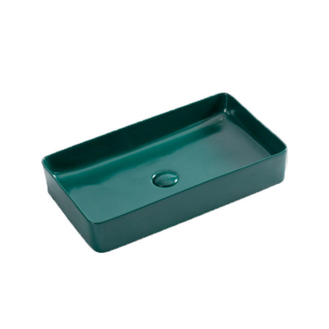Square countertop sink matte army green color ceramic thin hand wash art basin
