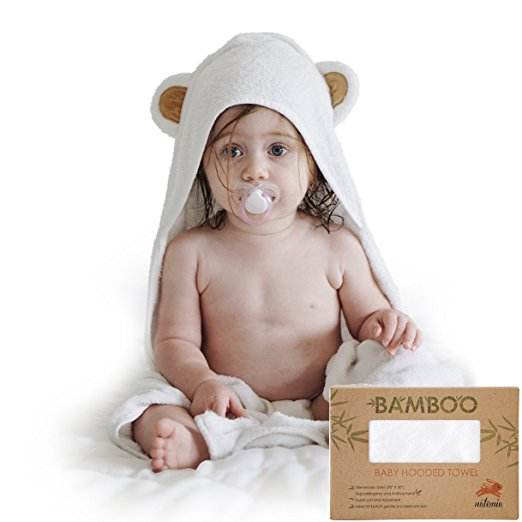 white color organic bamboo baby hooded towel for kids