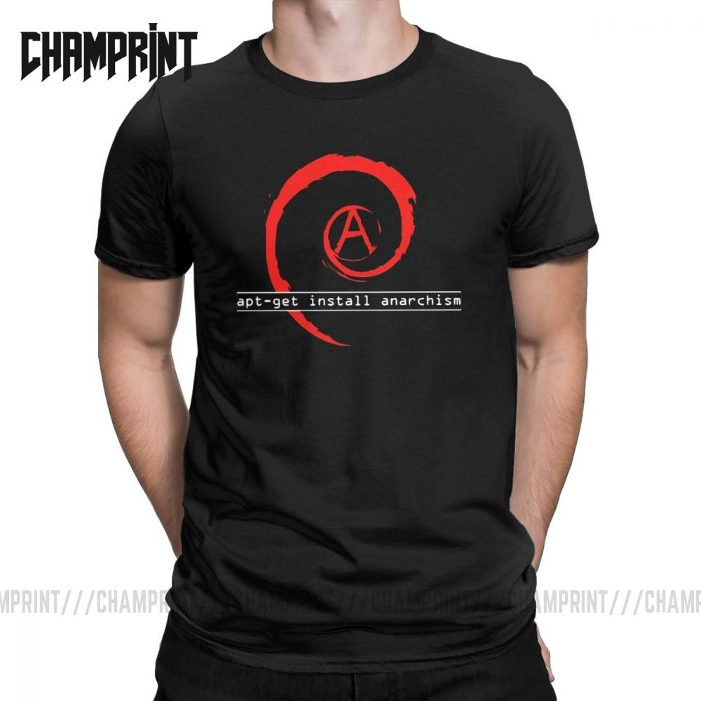Men's Apt-get Install Anarchism T Shirt Linux Debian Mutiny Audio Pure Cotton Tops Vintage O Neck Tees Gift Idea T-Shirts