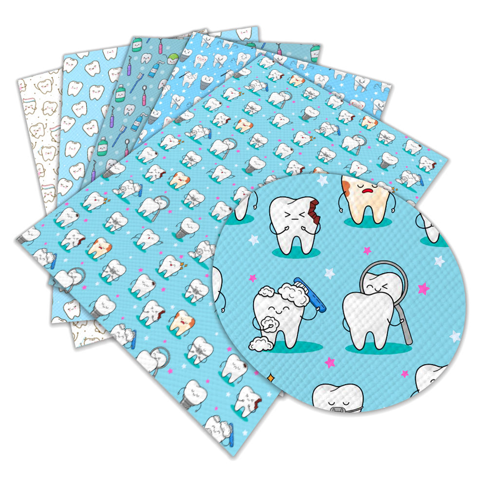 NEW Design Teeth Baby Faux PU Synthetic leather sheet factory direct