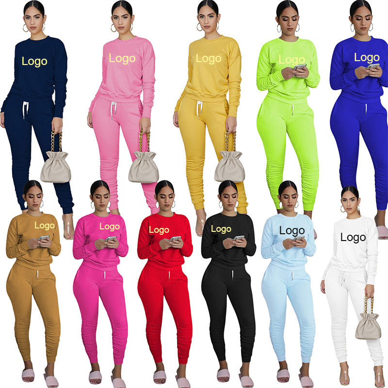Custom Logo Cotton Solid Color Unisex Stacked Pants 2 Piece Sweat Suits Tracksuit For Women Sweatsuit Set