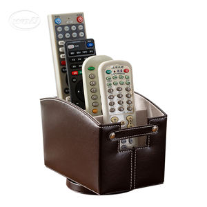 Custom hand made desktop holder 360 degrees rotatable PU leather hotel TV remote control organizer