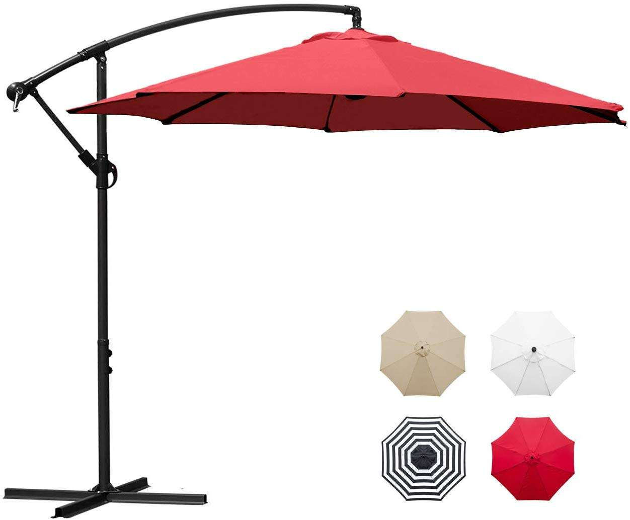 3M Polyester Waterproof Garden Patio Umbrella Parasol With Rotation Base, Steel Banana Hanging Umbrella,Sunshade Parasol Outdoor