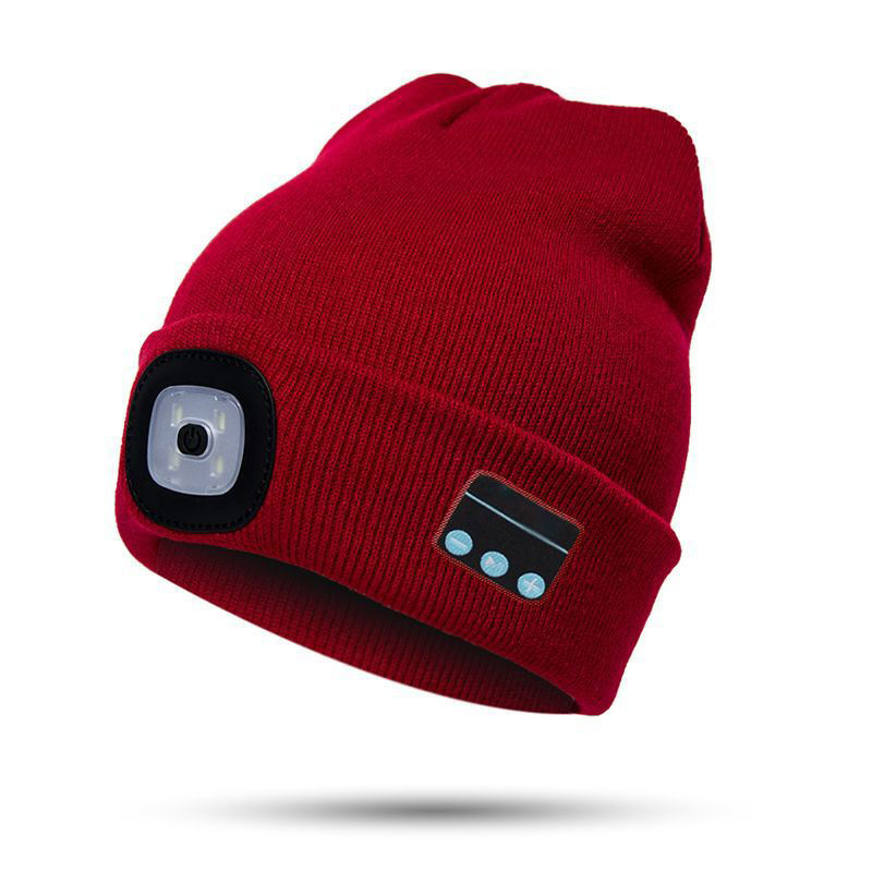 LED Electronical Red and White Light Beanie Hat Flashlight Bluetooth Knitted Winter Hat