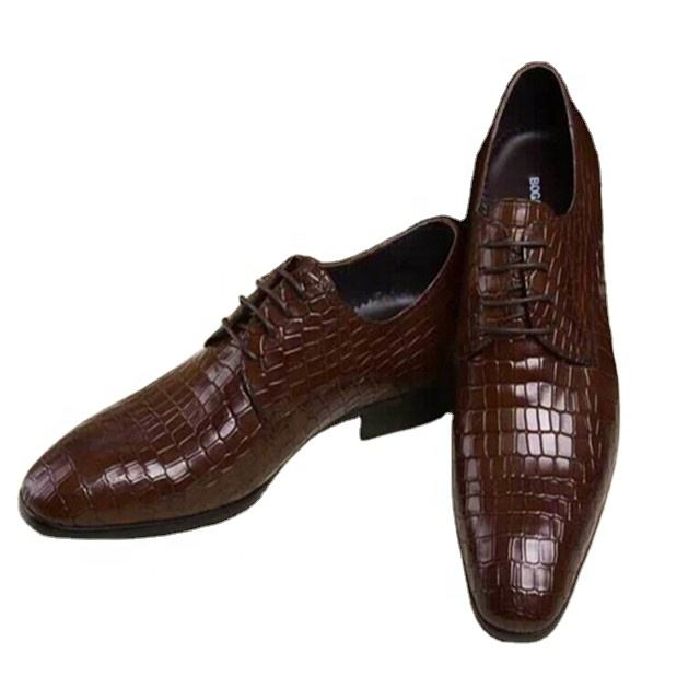 2021 High quality classic luxury branded top quality italian pure crocodile skin leather mens dress shoes