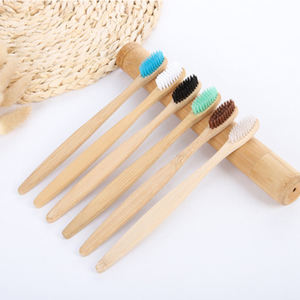 Wholesale high quality custom logo toothbrush bamboo with flat handle