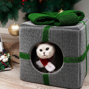 New Pet Products Fashionable Dog Cat Pet Bed Corduroy Material Christmas Gift Box Shape Christmas Cat Bed