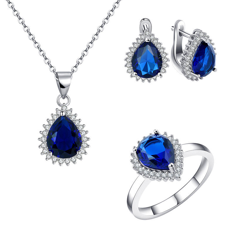 925 sterling silver high-grade sapphire water droplets shine zircon Royal Princess Jewelry Set