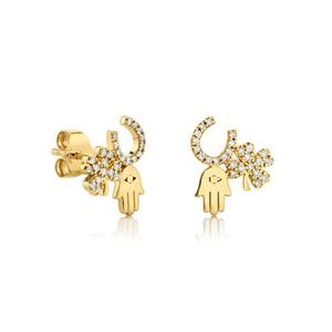 Unique Lucky Pave Cubic Zirconia Hamsa Hand Clover Stud Earring Silver 925