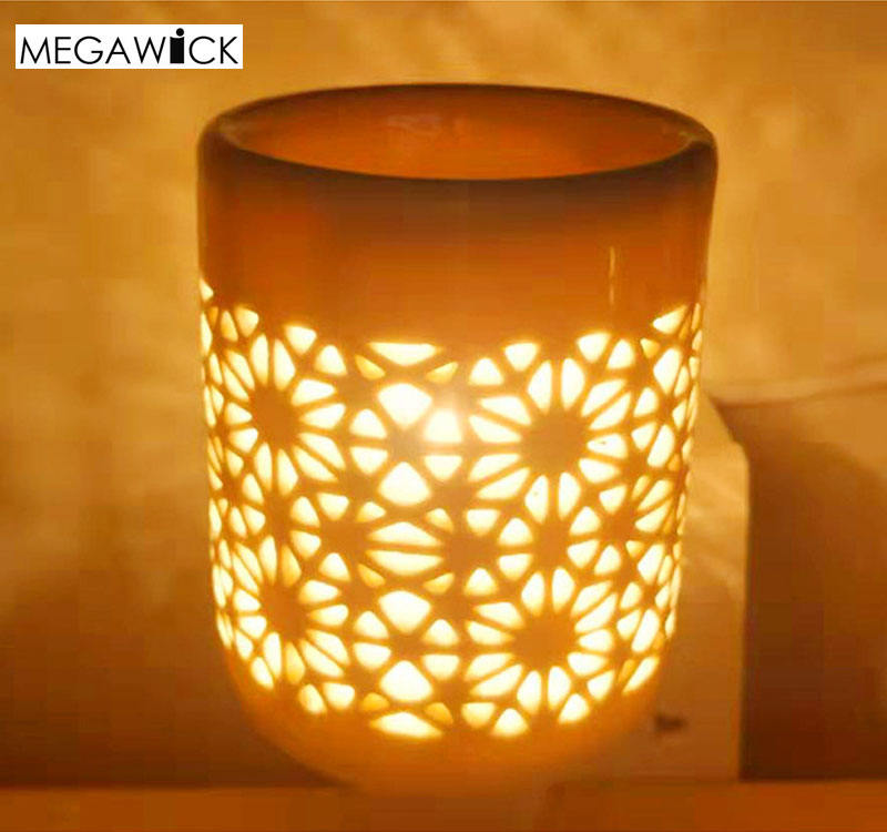 High Quality Wall Plug-in Hollowed-Out Ceramic Oil Burner Night Light;Wax Cubes Melter Private Label