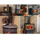 Stove Black Heat Powered Wood Burning Gas Stove Top Silent Eco Friendly Warm Air Fan