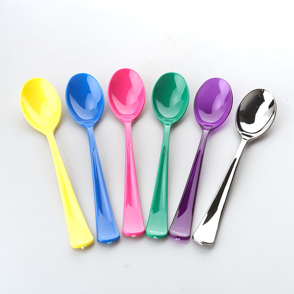 Smart design long handle cheap chinese table salad portable custom yogurt dessert disposable plastic 2 inch cutlery spoon