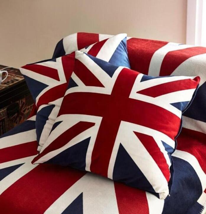 HOT SALE New European and American flag velvet pillow for home