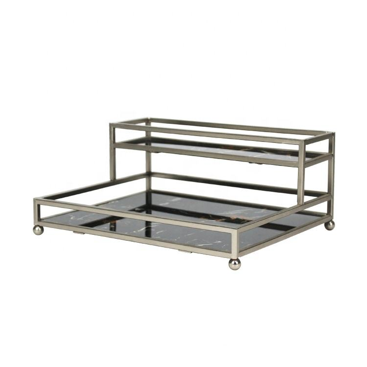 cosmetic rectangle luxurious two tier decorative metal nickel plated mirror serving tray