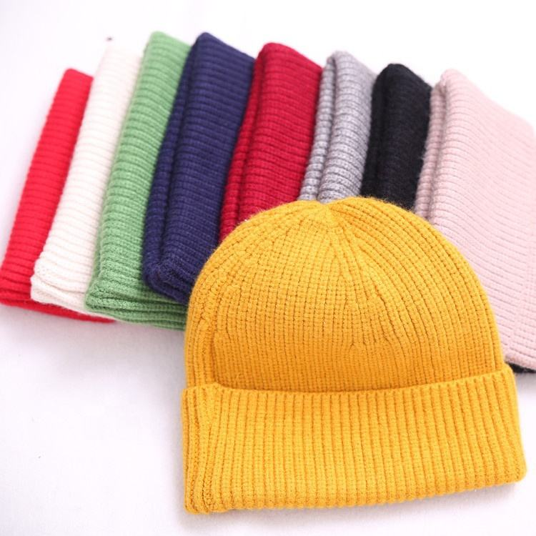 Fashion Plain Winter Hat 100% Wool Knit Beanies With Custom Embroidery For Adult Kids