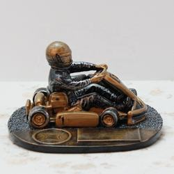 Sports Style Resin Crafts Golden Character Table Decor Racing Car Show Trophy
