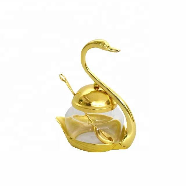 Tableware zinc alloy swan shape glass tea coffee sugar spice pot with metal lid
