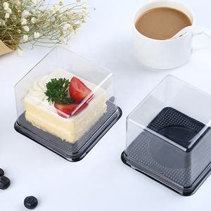 Pla disposable plastic clear pvc mini dessert bakery cake box containers packaging with lid