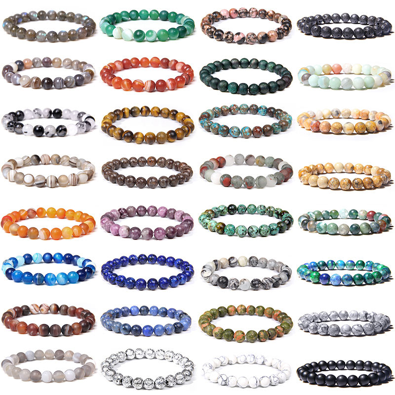 Natural Stones Gemstone Beads Healing Crystal Stretch Adjustable Bracelet 8mm Round Yoga Bracelet for Men Women Bangles