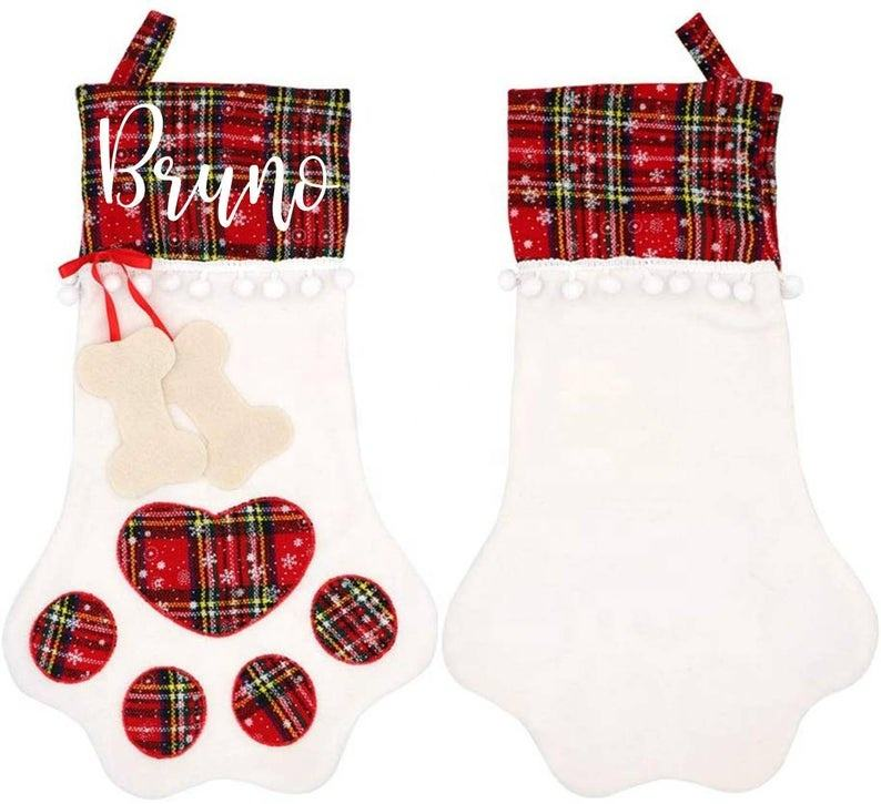 Very cute pet paw shape monogram red plaid and white christmas stocking with pompom ball