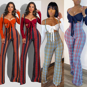 2020 Fall Women 2 Piece Outfits Sexy Solid Color Off Shoulder Mini Top With Plaid Printed Flared Trousers Two Piece Set