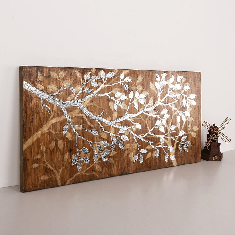 100% 品質天然木金属色の壁アート彫刻装飾パネル塗装