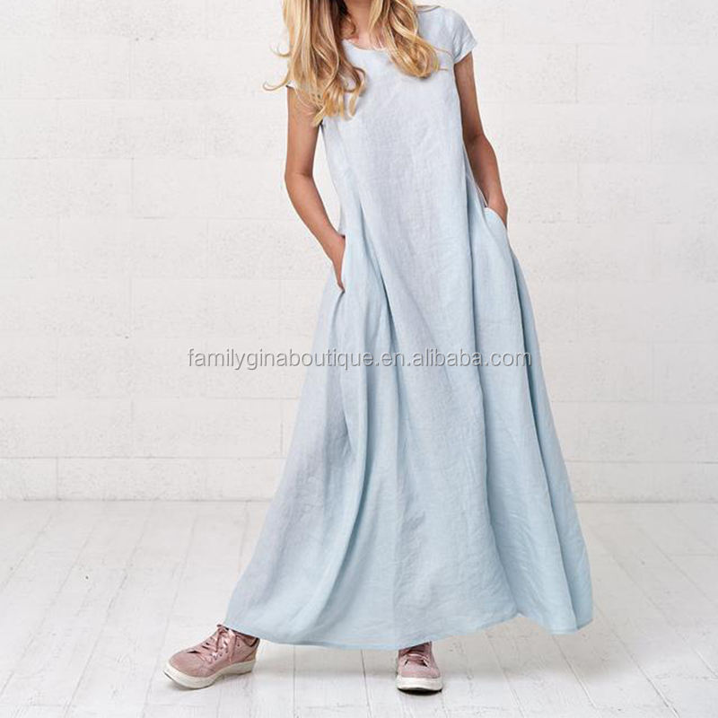 Wholesale Kaftan Maxi Dress Women's Loose Long Linen Kaftan Maxi Dress