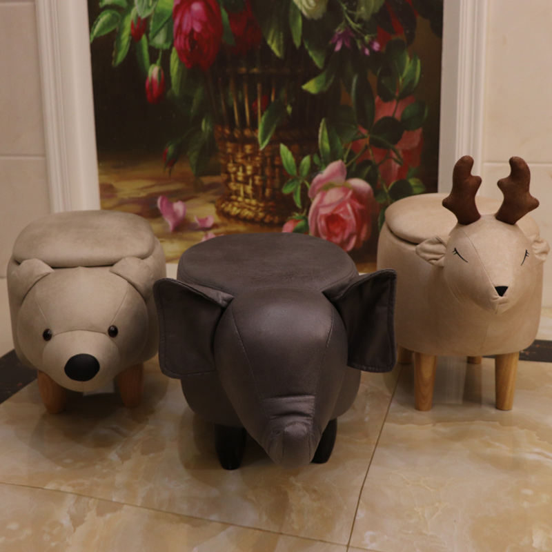 Wholesale Animal Shaping Ottoman Small Leather Stool For Children