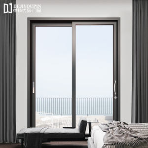 DEJIYOUPIN Premium French Interior Aluminum Sliding Double Glass Doors With Gasket