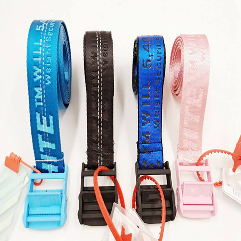 YD1A 2019 50% off custom colorful luxury fashion elastic nylon fabric flat white buckle belt for men and women