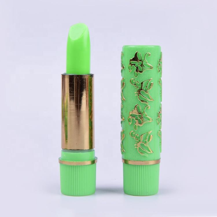 Hot Sale Hijau Butterfly Print Magic Lipstik Berubah Warna Bibir Tongkat Private Label Lipstik