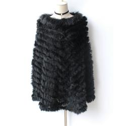 New Arrival Rabbit Plus Size Knitted Fur Poncho With Raccoon