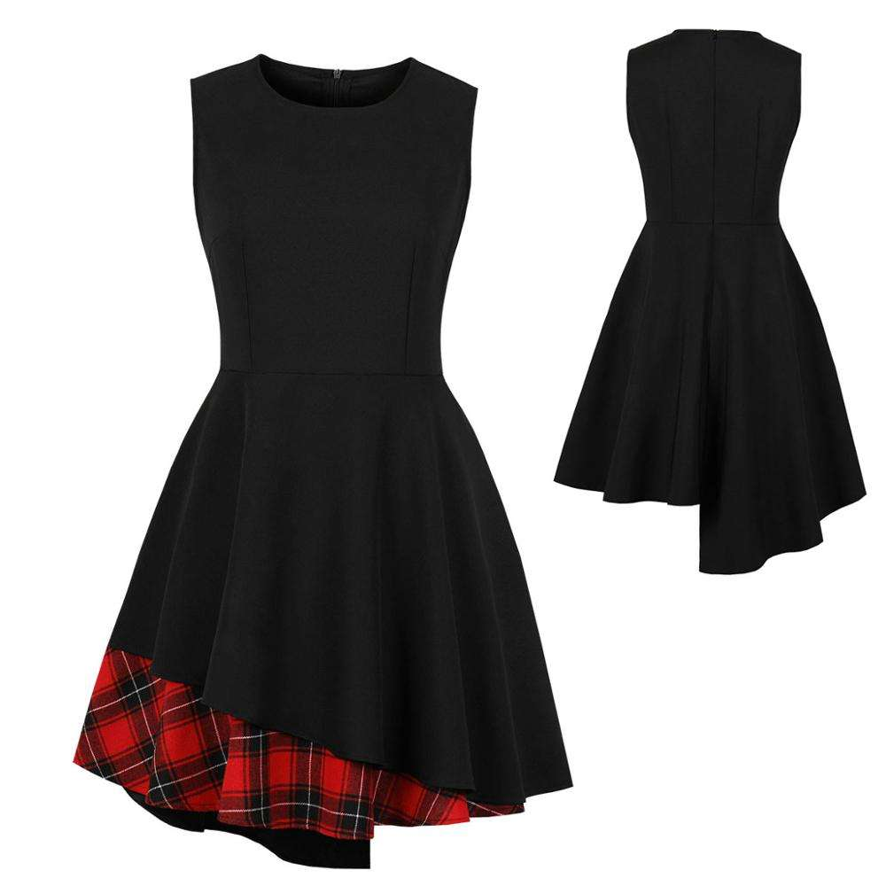 China Factory Direct Sale Women Plaid Patchwork Asymmetric Club Wear Mini Cheap Price A-line Graduation Ceremony Dress