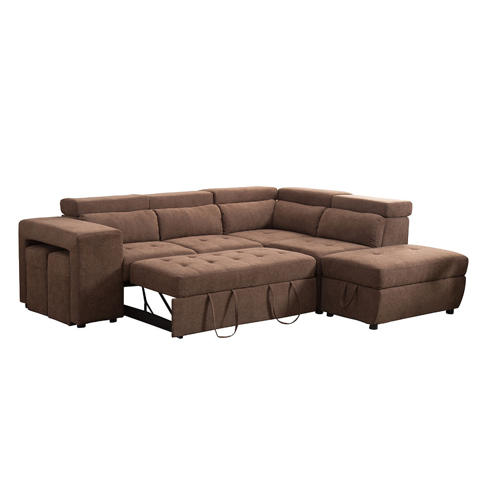 Modern living room high quality leather large comfortable and healthy sponge pull out storage sofa bed