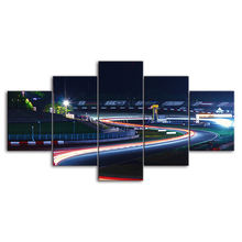 Wall Art 5 Panel Home Decoration Hd Print Track Night Landscape Poster Modular Picture Canvas Painting For Bedroom Frame Artwork
