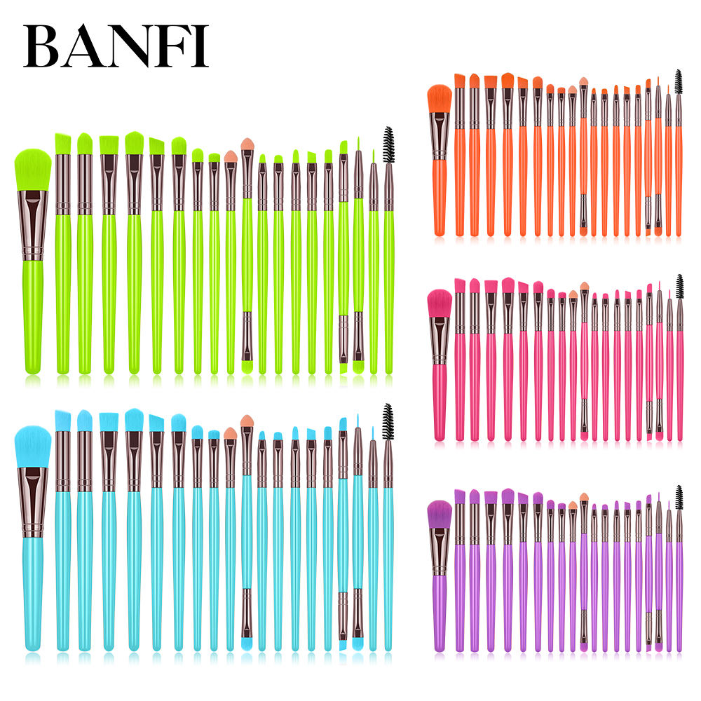 2020 Ins Hot New 20 Pcs Eye Makeup Brush Plastic Handle 5 Fluorescent Colors Cosmetic Brush Set