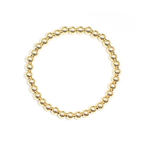 14K Gold Filled Beads Bracelet for Women Girls 3mm 4mm 5mm 6mm