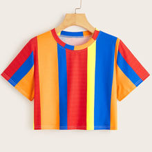 custom made women cropped multi color stripe print t shirts