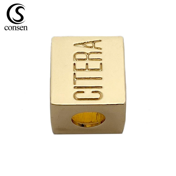 Custom logo garment gold drawstring metal cord end stopper for swimwear