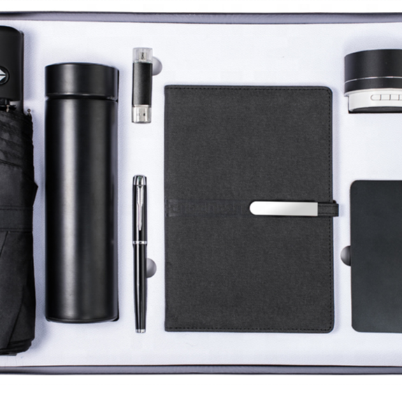 Corporate gift set automatic umbrella with logo vacuum cup 2021 designer dairy with power bank speaker notebook with pen usb