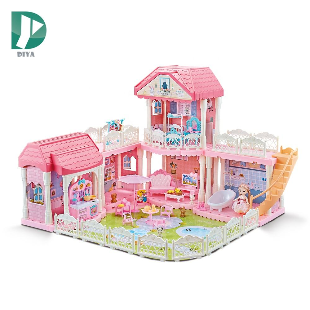 <span class=keywords><strong>Diy</strong></span> 2 Lagen Prinses <span class=keywords><strong>Kasteel</strong></span> Speelgoed Set Bouwstenen Plastic Huis Pretend <span class=keywords><strong>Speelhuis</strong></span> Pop