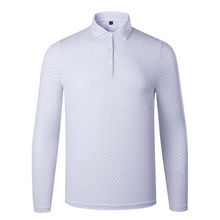 Performance Men Polka Dot Pattern Golf Shirt Custom Printing Long Sleeve Polo Shirt