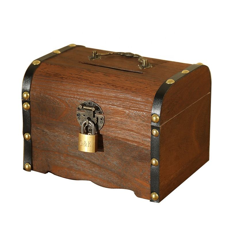 Antique Small Lock Chest Candy Wooden Treasure Box