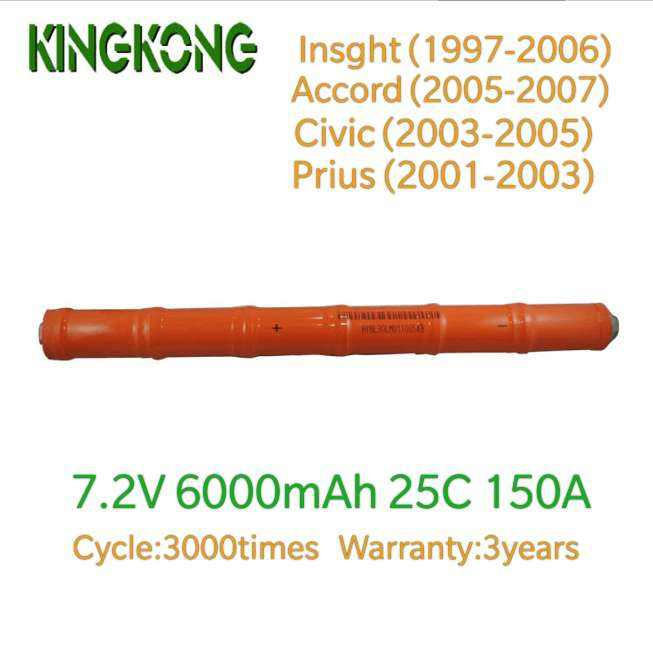 Kingkong 7.2V 6000 Mah 25C 150A Ni-Mh Vervangende Oplaadbare Hybrid Batterij Stok Pack Voor Insight Acoord Civic Prius Auto