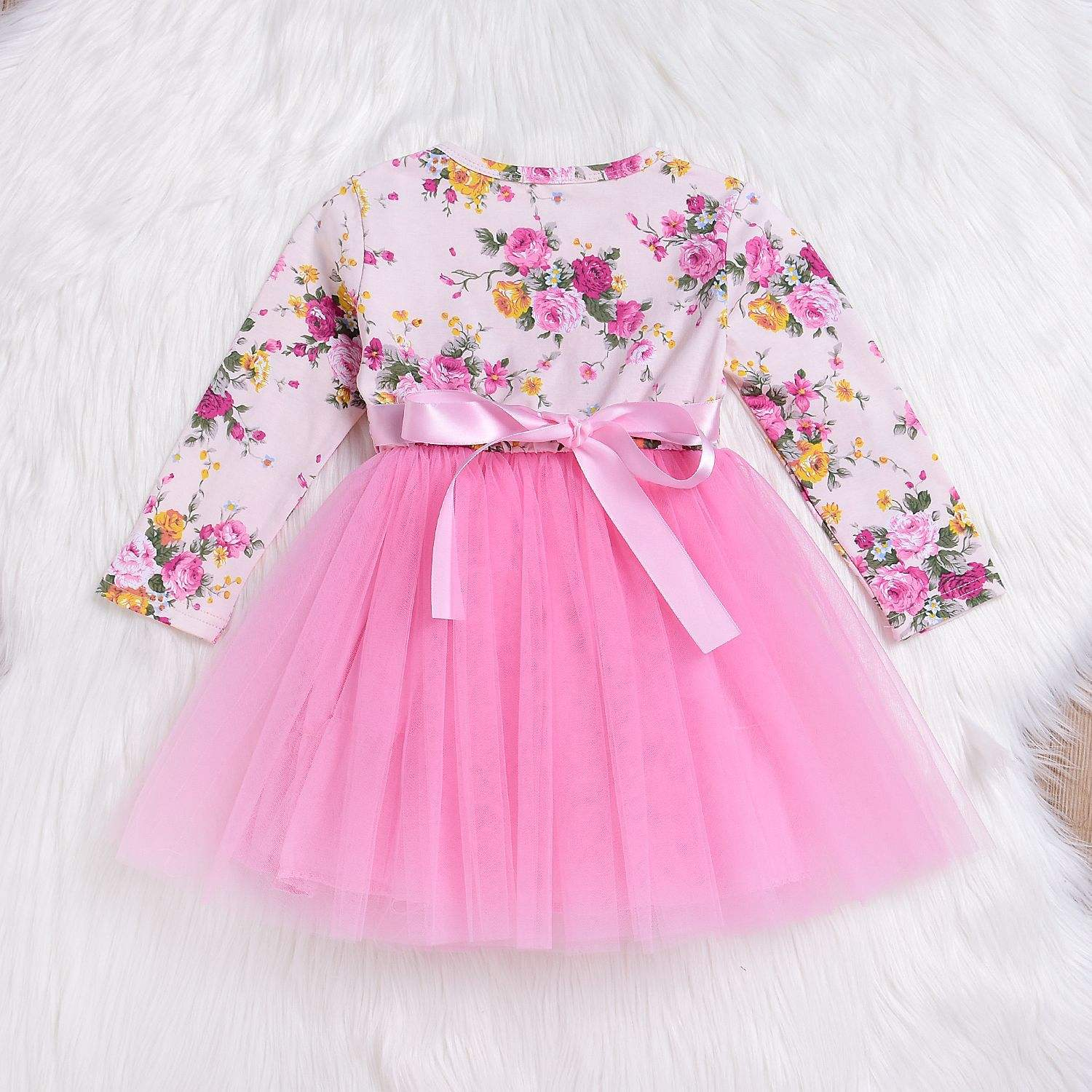 Autumn Baby Girl Dress Long Sleeve Pink Infant Dress For First Birthday Party Toddler Girls Clothes
